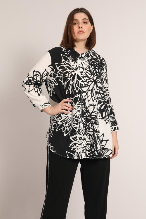 CALIA826-SPR23873A-AN2 chemise-en-fibranne-imprimee-noir-et-blanc