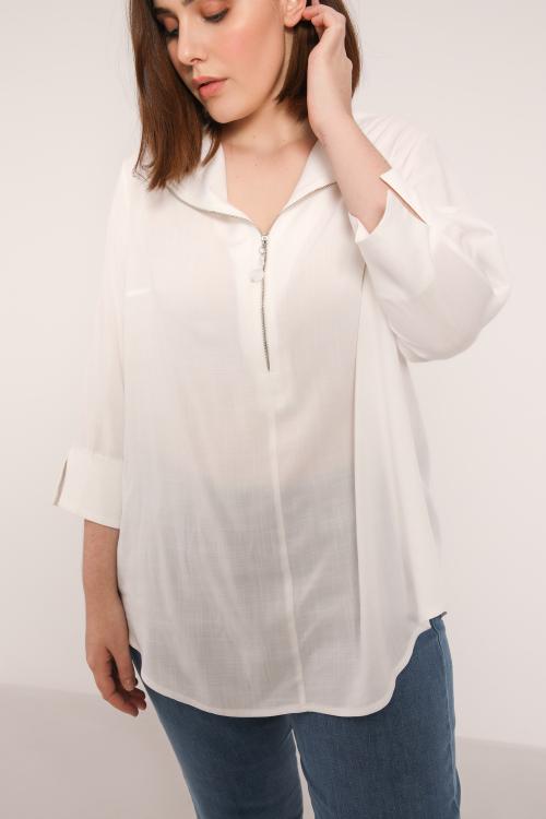 CASILE873-ECRU blouse-unie-avec-zip