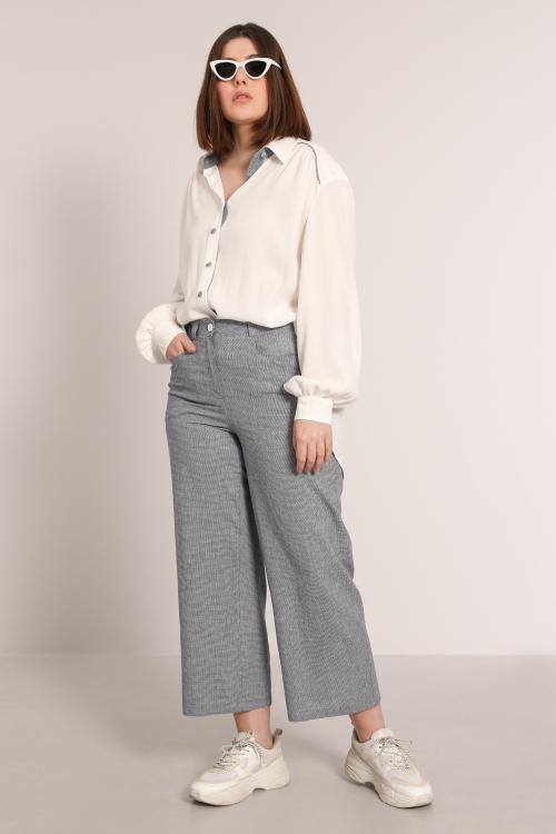 PATONE905-MARINE-ECRU pantalon-7-8-en-viscose-lin