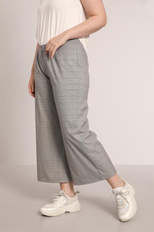 PIM904-GRIS-ECRU pantalon-7-8-a-petits-carreaux