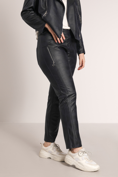 PITONO712-MARINE pantalon-droit-cuir-vegan