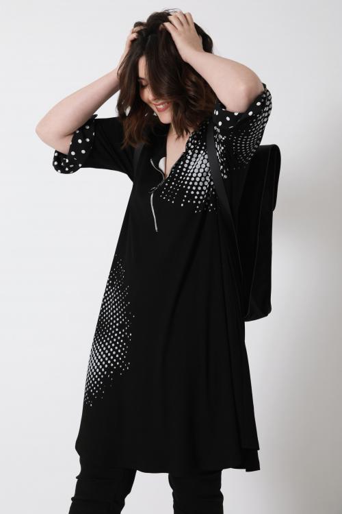 RIVADI879-NOIR robe-en-cote-avec-serigraphie-liv-15-20-fevrier